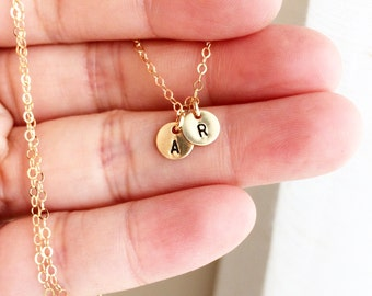 14Kt Gold Initial Necklace, Delicate 14Kt Gold Initial Necklace, Any time Necklace, Hand Stamped Initial Necklace, Personalized Gift