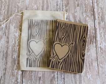 Tree Trunk Initials Journal Note Book Valentines Day Gift