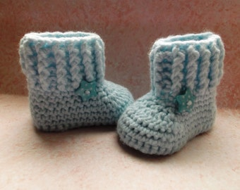 Crochet baby booties; knit baby boots;  baby boy booties, blue booties ; ready to ship, uk seller, 0-3 month