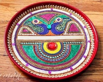Big Kalash Pooja Thali-Decorative Henna Mehndi Peacock Thali-Festive HomeDecor-Nikah-Shadi decor-Indian-Pakistani-Desi- Wedding Centerpiece