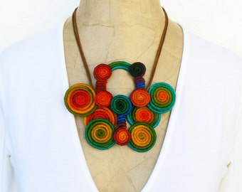 Chunky short necklace, Butterfly colorful pendant, Statement Rainbow bib, Wire wrapped Bold necklace, Bright quirky choker, Swirl necklace