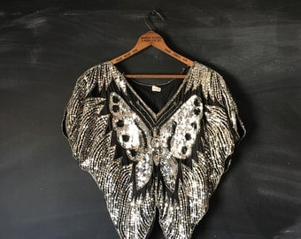 Vintage Silver Sequin Butterfly Top