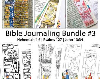 Bible Journaling Bible Verse Art Bible Verse Print great for faith journals Art Journals Bundle 3 Nehemiah 4-6 Psalms 127 John 13-34