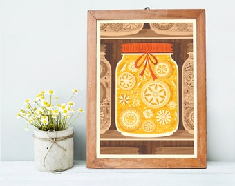 Yellow Mason Jar Art Print A3 - Perfect as a Housewarming Gift, a Christmas Gift or Home Decor Idea - Inspired by Lithuania Series