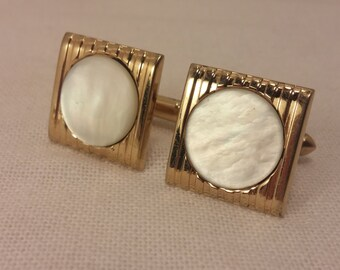 Vintage SWANK Goldtone and Mother of Pearl Cuff Links - Steampunk Couture, Wedding, Men's, Groomsmen Gift, Dad, Valentine, Engineer Gift