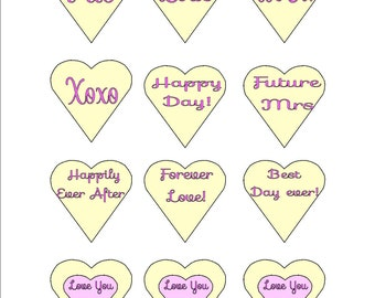 "Wedding Bachelorette Cupcake Toppers DIY 2"" SET OF 12 Hearts"