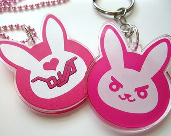 "PREORDER ** 2"" Clear Acrylic D.va Cosplay Phone Charm Keychain Necklace"
