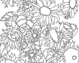Downloadable Coloring Book Pages, Flowers, Birds, Butterflies, Sunflowers, Anthuriums, Swallowtails, Chickadees