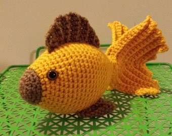 Goldfish-Crochet Amigurumi Stuffed Animal Plush- Gold Brown