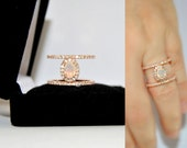 Reserved P. G. 1st payment Minimalist Opal Engagement Ring, Rose Gold Vermeil Solitaire Double Band Ring, Bridal Jewelry Promise Rings