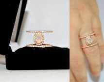 Minimalist Opal Engagement Ring, Rose Gold Vermeil Solitaire Double Band Ring, Bridal Jewelry Promise Rings, Bague fiancailles