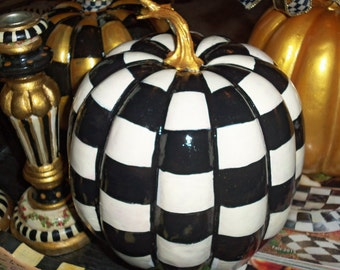 Whimsical French Market Style Black and White Checkered Hand Painted Pumpkin