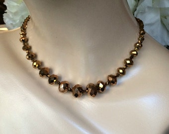 Art Deco Bronze Glass Beads, Vintage Chocolate Glass Necklace, Golden Bronze Crystal Glass Beaded Necklace