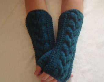 Fingerless Gloves TealWool  Knitted, Wrist Warmers Pacific  Teal Warm  Arm  Warmers Driving Girls women gift