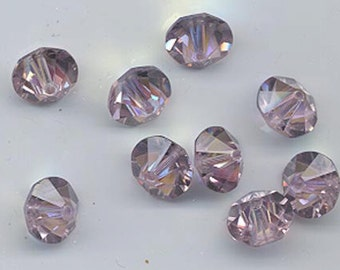Twelve rare vintage Swarovski crystal beads: Art. 42/5307 - 10 mm - light amethyst AB