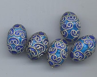Five vintage Chinese cloisonne twisted-wire beads - royal blue and cobalt blue enamel- 17 x 12 mm ovals