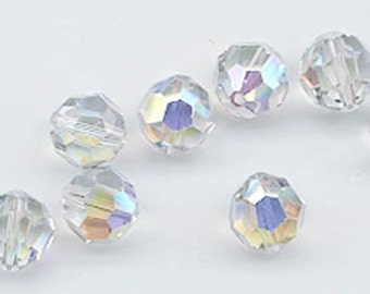 Twelve Swarovski crystals: art 5000 - 8 mm - shadow crystal AB