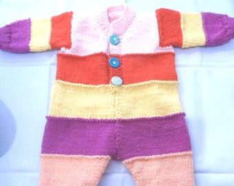 Onesie - Hand Knitted Baby Onesie - Handmade Wool  Baby Knit - New Born Baby - Knitted Baby All in one - Woolen Baby Top