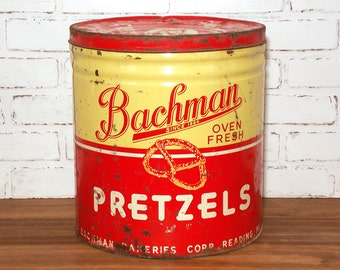 Vintage Bachman Pretzels Can Large 4.5 lb Tin with LId