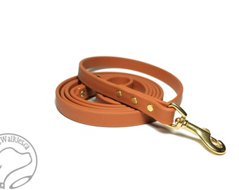 "Caramel Brown Biothane Dog Leash - 5/8"" (16mm) - Choice of: Stainless Steel or Brass Hardware and Length 4ft, 5ft or 6ft (1.2m,1.5m,1.8m)"