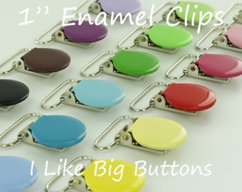 50 Enamel Clips 1 INCH Round Metal Pacifier Clips / Suspender Clips / Paci/Dummy/Bib / Toy Holder Clips