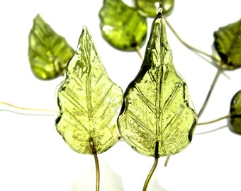 SUPPLY: 10 Large Olive Glass Leaf Headpins - Embedded Brass Wire Glass Drops -  (4-C2-00003571)