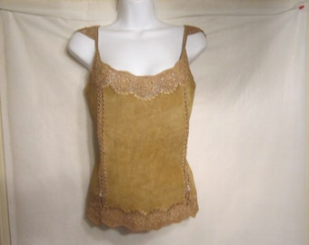 Vintage Suade Fawn Embroidered Top