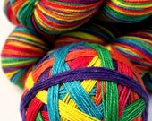 "Self Striping Sock Yarn, Superwash Merino and Silk Fingering Weight, in ""Rainforest Rainbow"""