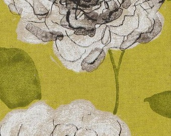 Blue, Taupe and White Floral Pillow Covers in Begonia Charteuse
