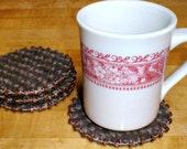 Beaded Wool Coasters BROWN & TAN Felted Wool, Upcycled Mug Rugs by SweaterScrapyard