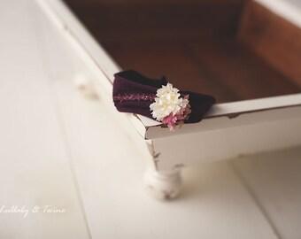 White and Purple stretch Newborn headband photography prop