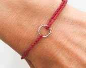 Karma bracelet, circle bracelet in sterling silver and waxed irish linen cord, wish bracelet - red bracelet
