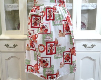 Vintage Half Apron, Womens Apron, Country Cotton Print, Red Green White Cotton Apron,  Ladies Vintage Apparel by TheSweetBasilShoppe