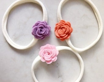 Felt Flower Headbands - felt posies on skinny elastic headbands - newborn - baby - toddler - child
