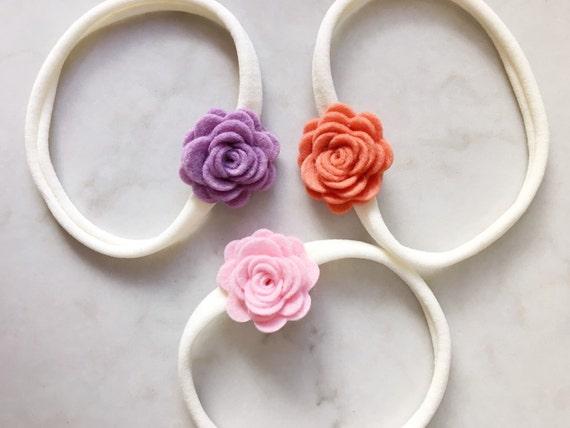 Felt Flower Headbands - felt posies on skinny elastic headbands - newborn - baby - toddler - child