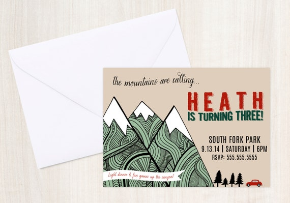 MOUNTAIN Invite - Woods or Mountain Party Invitation - Party Supplies