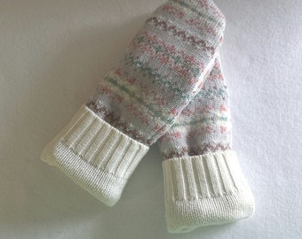 Recycled Cotton and Cotton Blend Mittens ~ Recycled Cotton Sweater Mittens ~  Fleece Lined  ~ Women's  Mitten