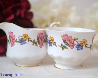 Royal Sutherland H and M  Cream And Sugar Set With Multicolored Flowers, English Bone China Cream And Sugar Set, ca 1941-1975