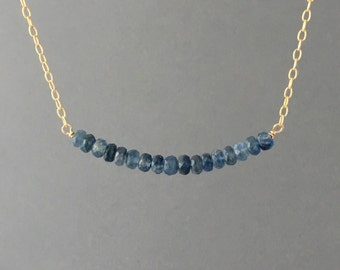 Real Blue Sapphire Beaded Necklace Gold Rose Gold or Silver
