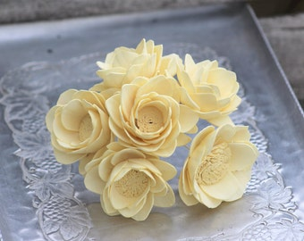 "Sola Flower Camellia Set of 6 Stemmed Sola Wood Flowers Light Yellow 2 1/2"" OR Natural Ivory DIY  Bride"