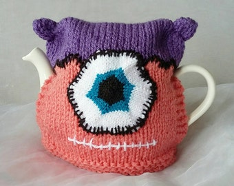 One of Victor Frankenstein's Tea Cosies - Pink and Purple