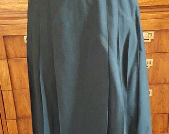 Vintage Talbots Wool Skirt  Evergreen Pleated Maxi Skirt Size 8