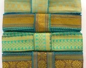 Green Teal Sari borders, SR476