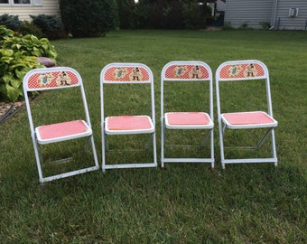 Vintage Children's Disney Folding Chairs Set of Four Featuring Mickey Mouse and Donald Duck 1960s Walt Disney Chairs