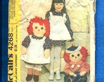 Vintage 1974 McCalls 4268 Raggedy Ann & Andy Dolls 36 Inches  Tall