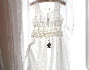 SALE Boho Bohemian Gypsy Romantic White Polkla Dots Silk Lace Victorian Sleeveless  Dress Women Sundress Angel