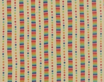 Flying Colors - Rainbow Stripe in Natural - Momo for Moda Fabrics - 33065 11 - 1/2 yd