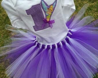 Tinkerbell birthday tutu outfit Tink tutu Purple birthday party First birthday second birthday third birthday girl