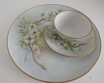 Vintage Hand Painted Limoges, Dinner Plate, Cup & Saucer, White Dogwoods,Signed By Artist, Shabby Chic, Circa 1920
