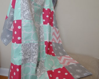 Patchwork Baby/Toddler  Blanket, Handmade- Pinks, greys and mints with grey  dimple minky underside